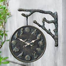 Outdoor Pedestal Clock Thermometer Double Sided Clock Ebay