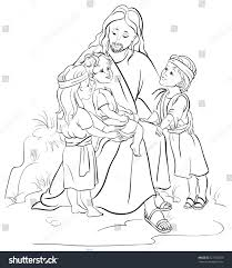 bible story jesus children coloring page stock vector 227303209