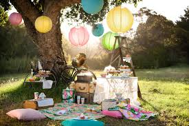 whimsical grass picnic setup with throw pillow cupcakes and