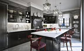 Traditional Kitchen Stools - grey and black traditional kitchen with marble table and the wash