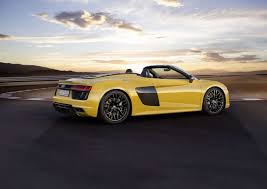 Audi R8 Yellow - 2017 audi r8 spyder review audi weaves a stylish web the drive
