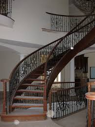 outdoor steel stair rail scroll pickets and wood cap atlantic