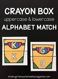 kindergarten worksheets and games free crayon box alphabet match