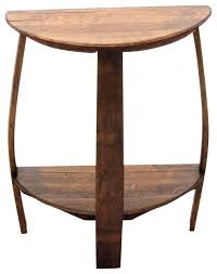 Wood Round End Table The Wine Barrel Half Round End Table Rustic Side Tables And