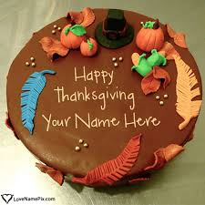 name on happy thanksgiving wishes cake picture