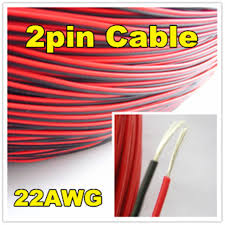 electrical wire red black tinned copper 2 pin 22awg insulated pvc