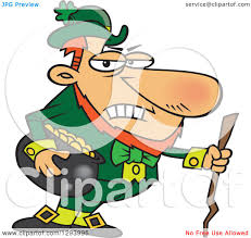 clipart of a cartoon grouchy leprechaun holding a pot of gold and