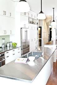 kitchen island with stainless top metal kitchen islands design galley kitchen with modern white