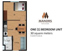1 Bedroom Condo Floor Plans by Camella Homes Manors Bacoor One 1 Bedroom 30 Sqm