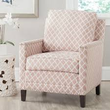 White Leather Club Chairs Safavieh Buckler Peach Pink U0026 White Bicast Leather Arm Chair
