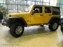 yellow jeep 2011 jeep wrangler unlimited sport 4x4 in detonator yellow