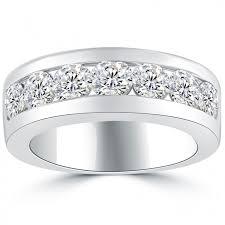 gold mens wedding band 2 10 carat diamond mens wedding band ring 14k white gold