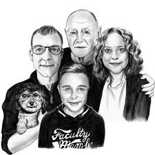 bespoke portrait of family from photos sketch artist nationwide