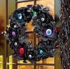 halloween wreath door hanger lighted eyeballs in black roses w 9