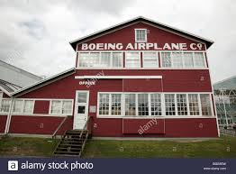 william e boeing red barn at the museum of flight seattle stock