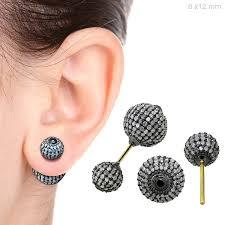 sided stud earrings 18k gold pave diamond sided bead stud earrings