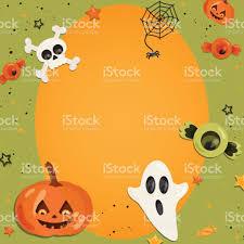 halloween cartoon art in flat style orange background frame with