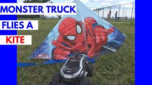 outdoor monster truck shows monster truck flies a kite flying a spiderman kite outside fun