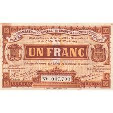 chambre du commerce cherbourg billet des chambres de commerce granville et cherbourg 1 franc