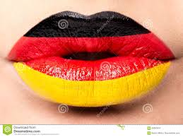 Flag Black Red Yellow Female Lips Close Up With A Picture Flag Of Germany Black Red