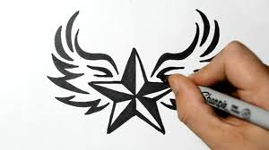 how to draw a nautical star with wings tribal style youtube