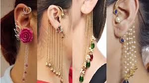 ear earrings chain gold ear cuffs earrings