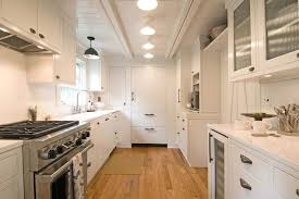 wood ceiling lights galley kitchen with plank ceiling traditional