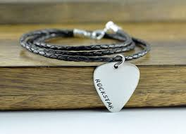 Engraved Guitar Pick Necklace Hand Stamped Guitar Pick Mens Guitar Pick Necklace Fathers Day