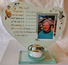 memorial tea light candle holder memorial glass photo frame with verse and tea light candle holder ebay