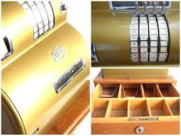 Mechanical Decor 1950s Helios Cash Register Gold Tone Store Decor Rockabilly