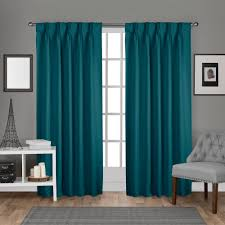 Teal Curtains Sateen Pinch Pleat Teal Woven Blackout Window Curtain Eh8245 03 2