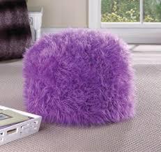 buy black fuzzy furry footstool floor pillow cushion seat fabric
