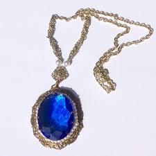 vintage blue stone necklace images Vintage west german filigree sapphire blue stone faux seed pearl jpg