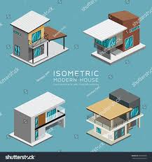 modern house isometric collections design background stock vector