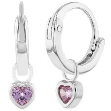 baby hoop earrings 925 sterling silver pink cz heart charm baby hoop earrings toddlers gi
