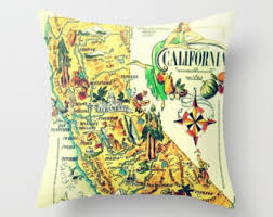 california gifts california pillow gold pillow cover california map pillow
