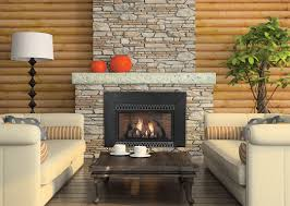 living room design with stone fireplace subway tile kitchen