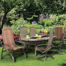 Sling Back Patio Dining Sets - homecrest benton 7 piece sling dining set with faux granite top