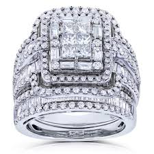 overstock wedding ring sets annello by kobelli 14k white gold 2 1 2ct tdw diamond composite