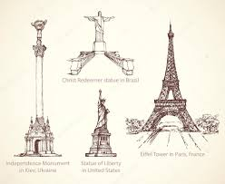 world famous historical monuments vector sketch u2014 stock vector