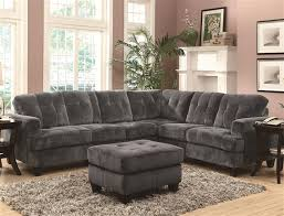 Coaster Sectional Sofa Hurley Charcoal Velvet Sectional By Coaster 500714
