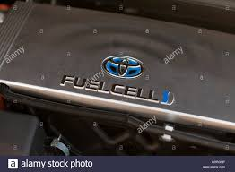hydrogen fuel cell car toyota toyota mirai hydrogen fuel cell car engine compartment usa stock
