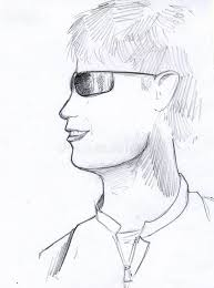 man with sunglasses pencil sketch stock illustration image