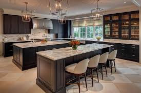kitchen with two black islands contemporary kitchen