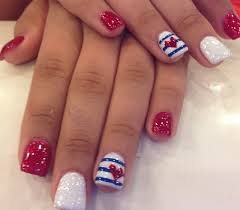 blue red and white with strips and hearts nail art design nails