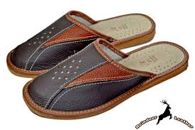 Mens Leather Bedroom Slippers nick mens genuine buffalo leather house scuffs u2013 reindeer leather