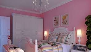 korean rural style pink bedroom with white furniture interior design