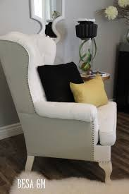 Slipcover For Wingback Chair Design Ideas Living Room White With Nailhead Wing Chair Slipcover For