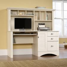 l shaped wooden corner computer desk with white acrylic swivel