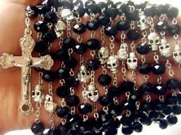 15 decade rosary silver skull black fifteen 15 decade rosary cross crucifix
